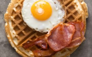 Waffles Eggs and Bacon