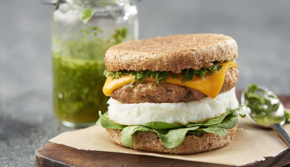 Egg Sausage Cheddar Chimichurri Sandwich
